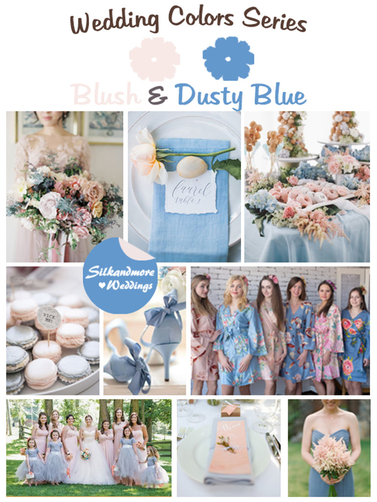 Blush and Dusty Blue Wedding Colors Palette