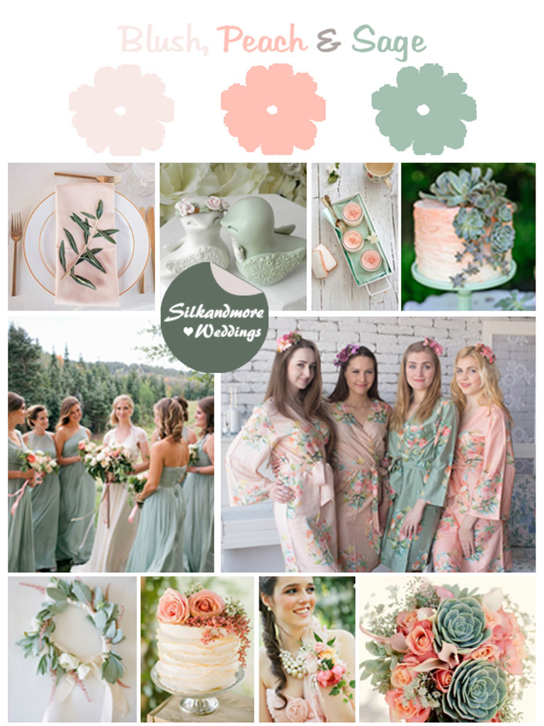 Blush, Peach and Sage Wedding Color Robes - Premium Rayon Collection