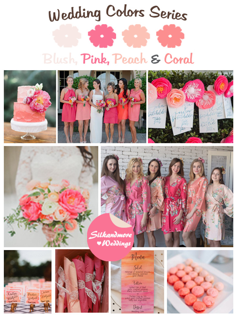 Blush, Pink, Peach and Coral Wedding Colors Palette - Robes by ...