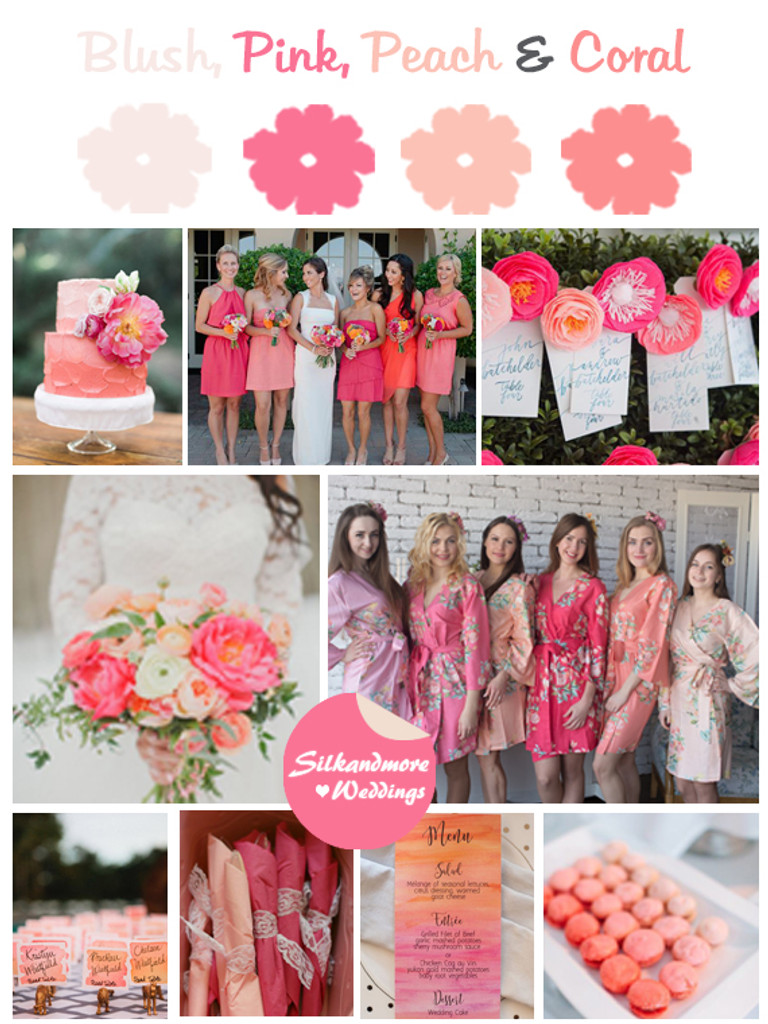 Blush, Pink, Peach and Coral Wedding Color Robes - Premium Rayon Collection