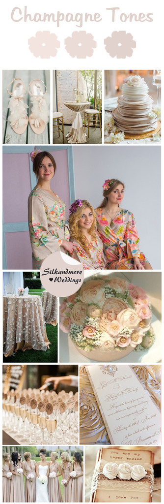 Champagne Tones Wedding Color Robes - Premium Rayon Collection