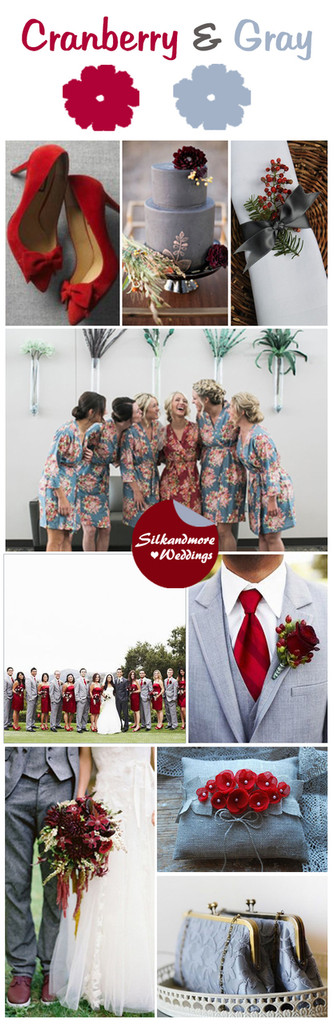 Cranberry and Gray Wedding Color Robes - Premium Rayon Collection
