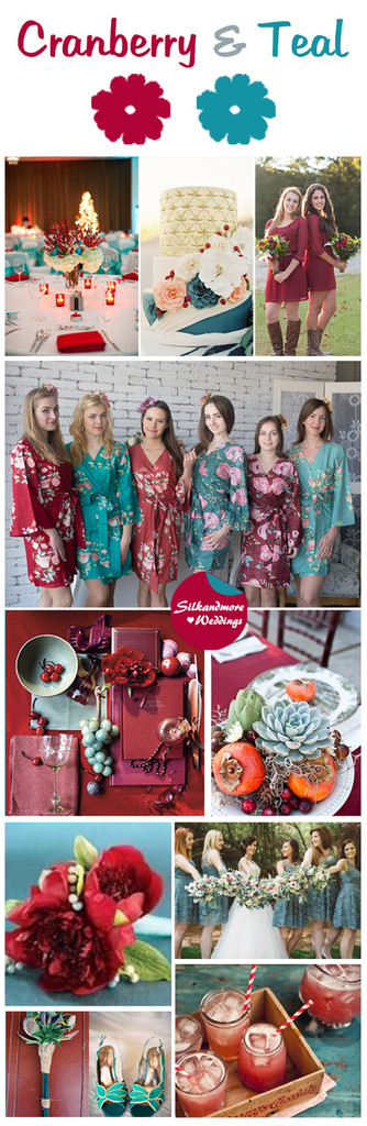 Cranberry and Teal Wedding Color Robes - Premium Rayon Collection