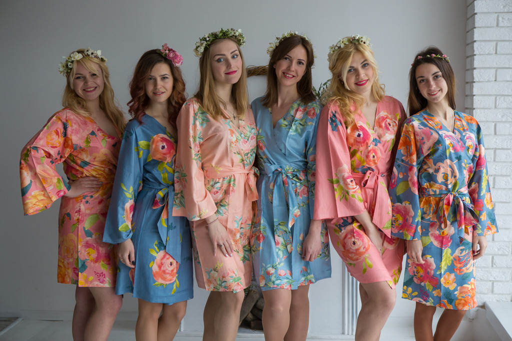 Dusty Blue and Peach Wedding Color Robes - Premium Rayon Collection