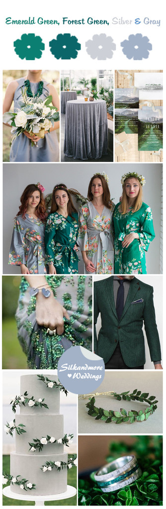 Emerald Green, Forest Green, Silver and Gray Wedding Color Robes - Premium Rayon Collection