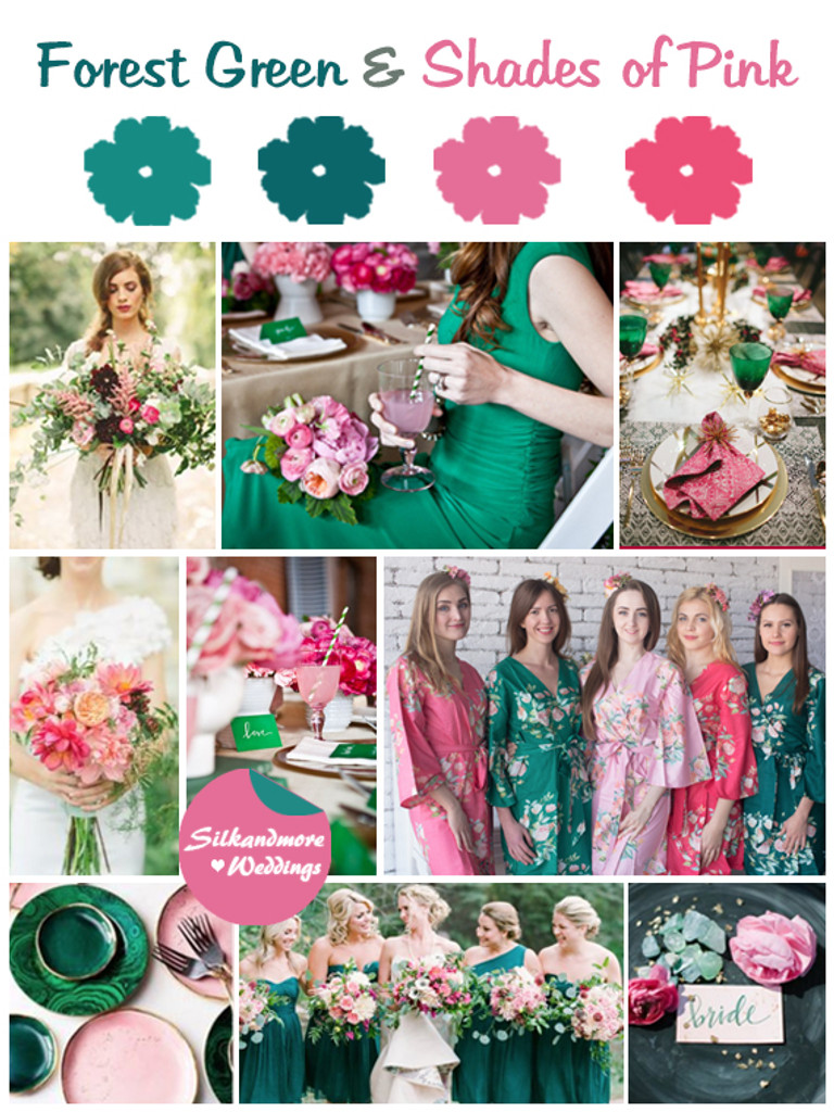 Forest Green and Shades of Pink Wedding Color Robes - Premium Rayon Collection
