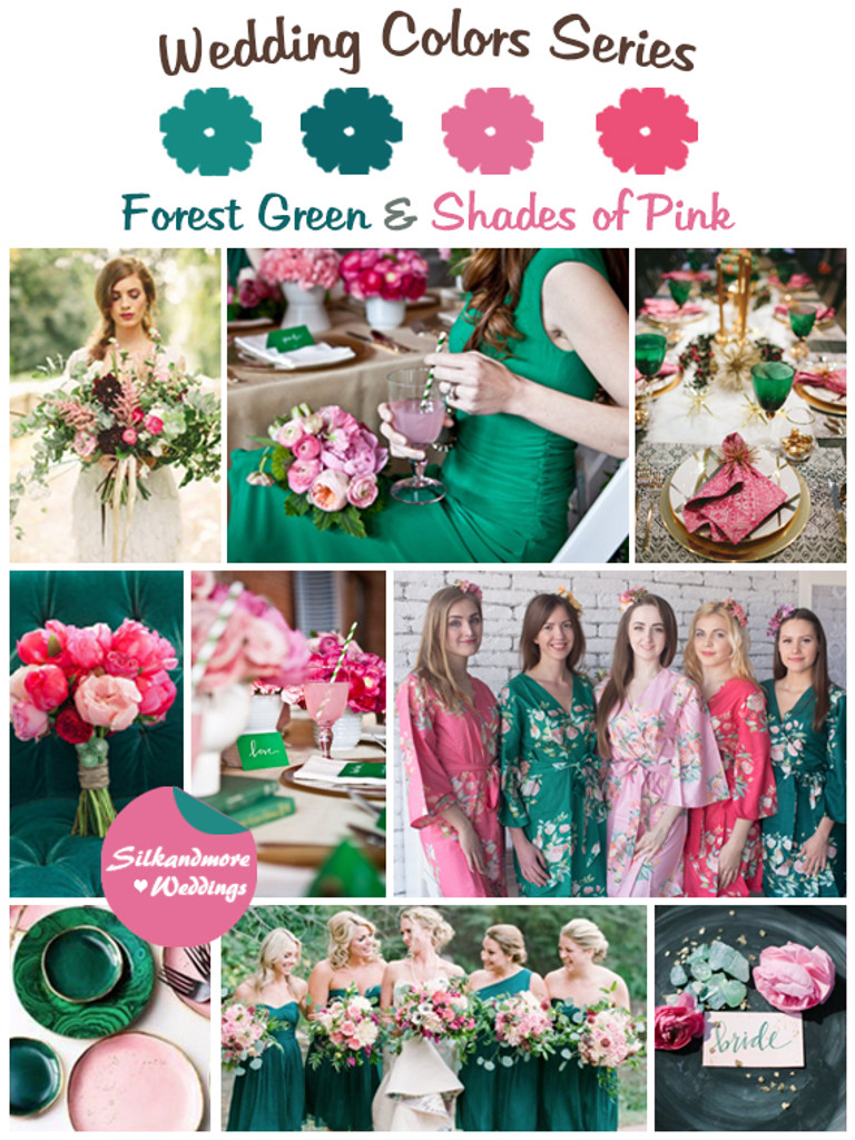 Forest Green and Shades of Pink Wedding Colors Palette - Robes by ...