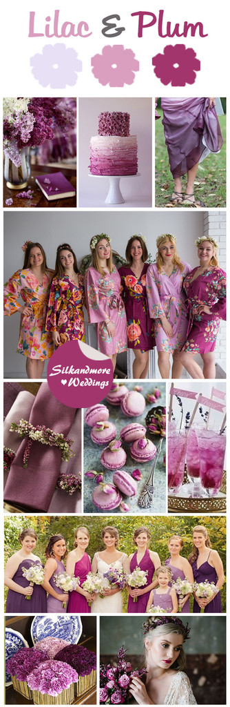 Lilac and Plum Wedding Color Robes - Premium Rayon Collection