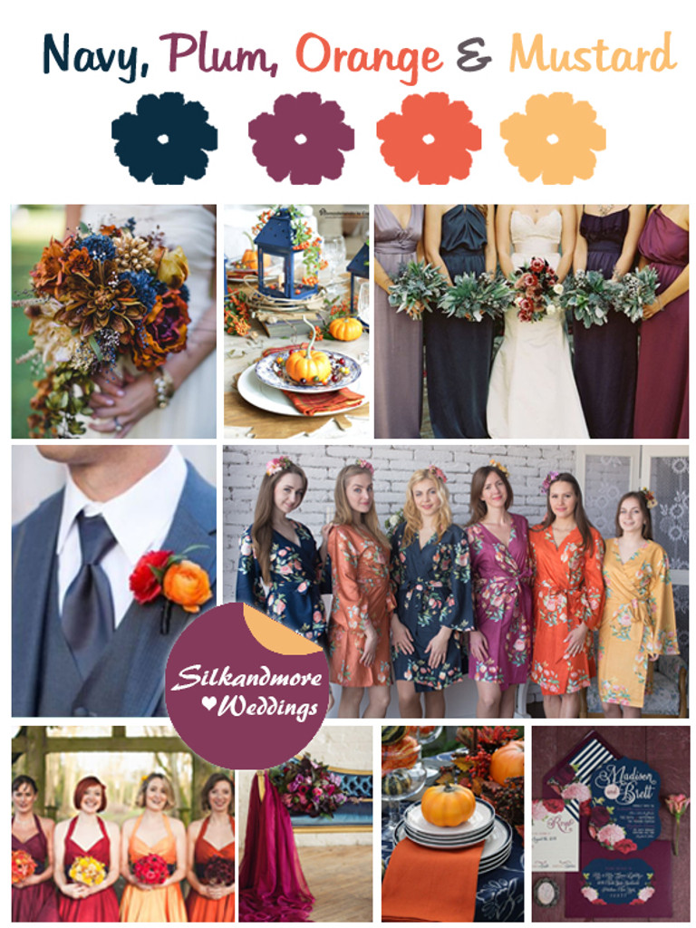 Navy, Plum, Orange and Mustard Wedding Color Robes - Premium Rayon Collection