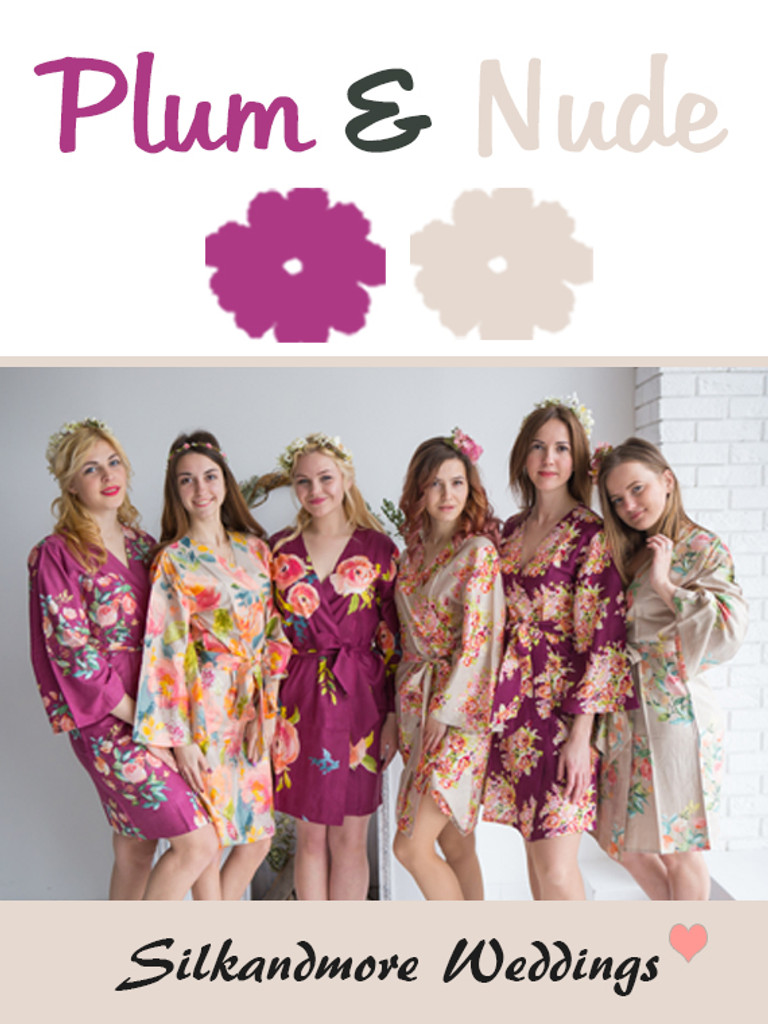 Plum and Nude Wedding Color Robes - Premium Rayon Collection