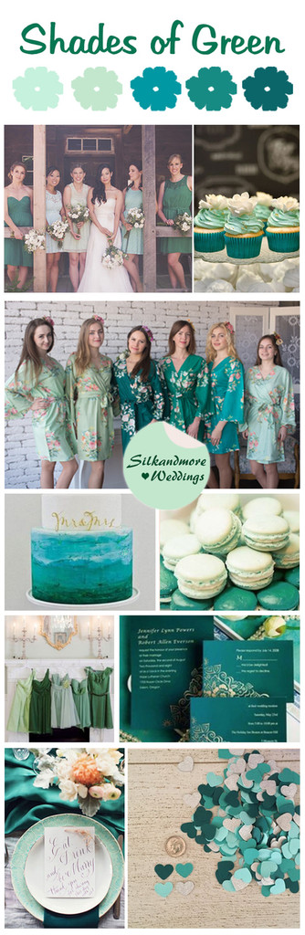 Shades of Green Wedding Color Robes - Premium Rayon Collection