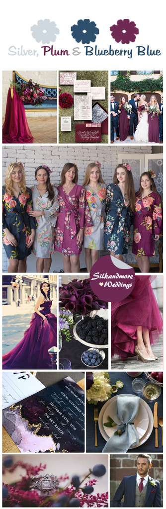 Silver, Plum and Blueberry Blue Wedding Color Robes - Premium Rayon Collection