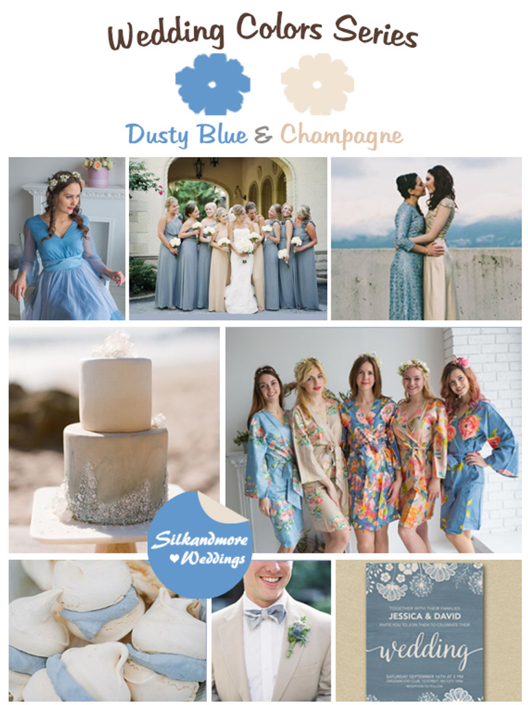 Dusty Blue and Champagne Wedding Color Palette - Robes by silkandmore