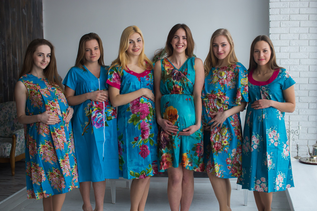 Blue Floral Birthing Gowns - Robes by silkandmore