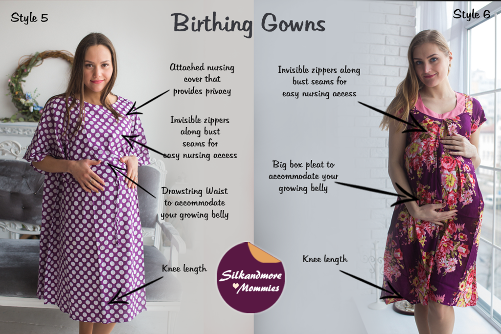 Eggplant Floral Birthing Gowns - Robes by silkandmore