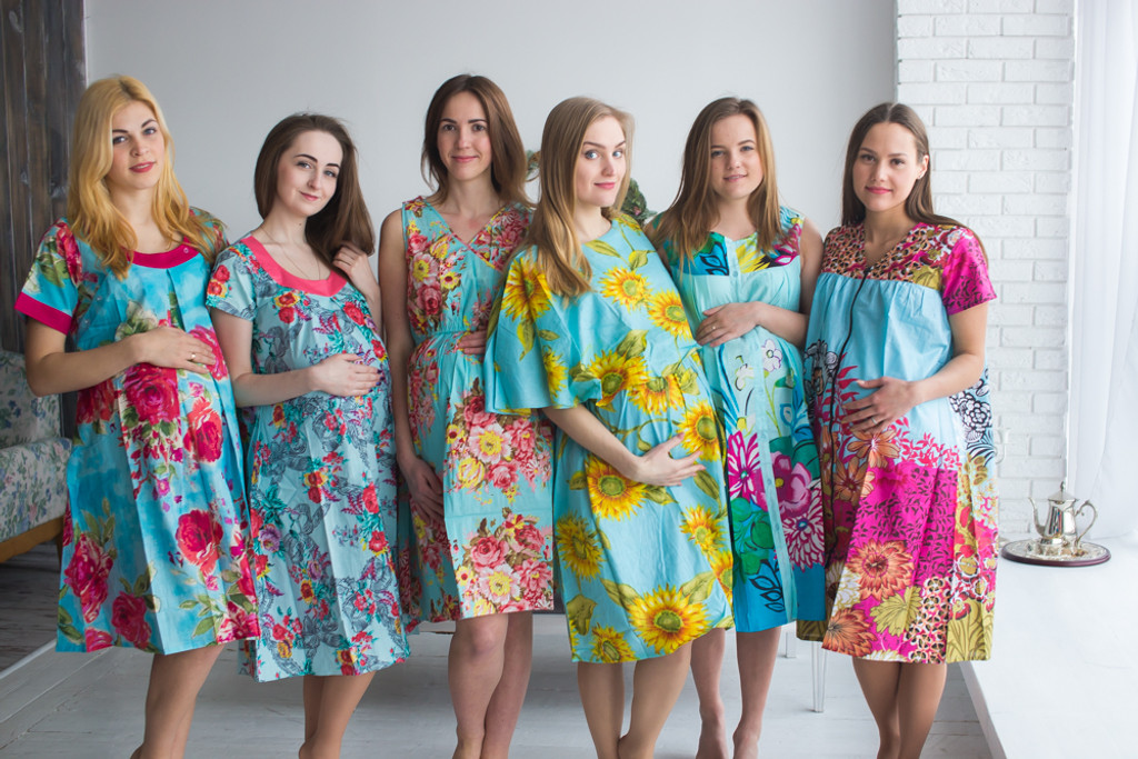 Turquoise Blue Floral Birthing Gowns - Robes by silkandmore