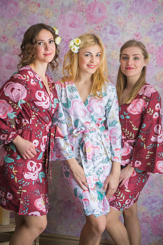 Whimsical Giggle Pattern- Premium Cranberry Bridesmaids Robes