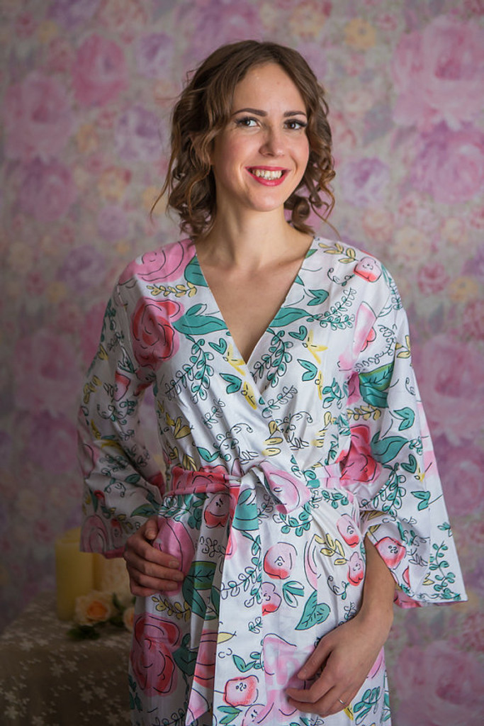 Whimsical Giggle Pattern- Premium Dusty Teal Bridesmaids Robes