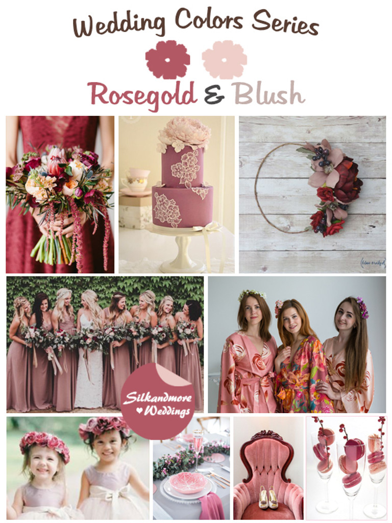 Rosegold and Blush Wedding Color Palette - Robes by silkandmore