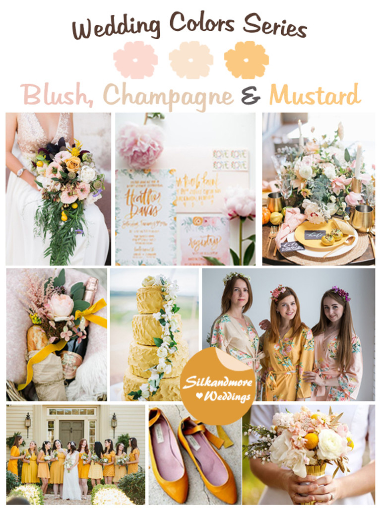 Blush Champagne And Mustard Wedding Color Palette