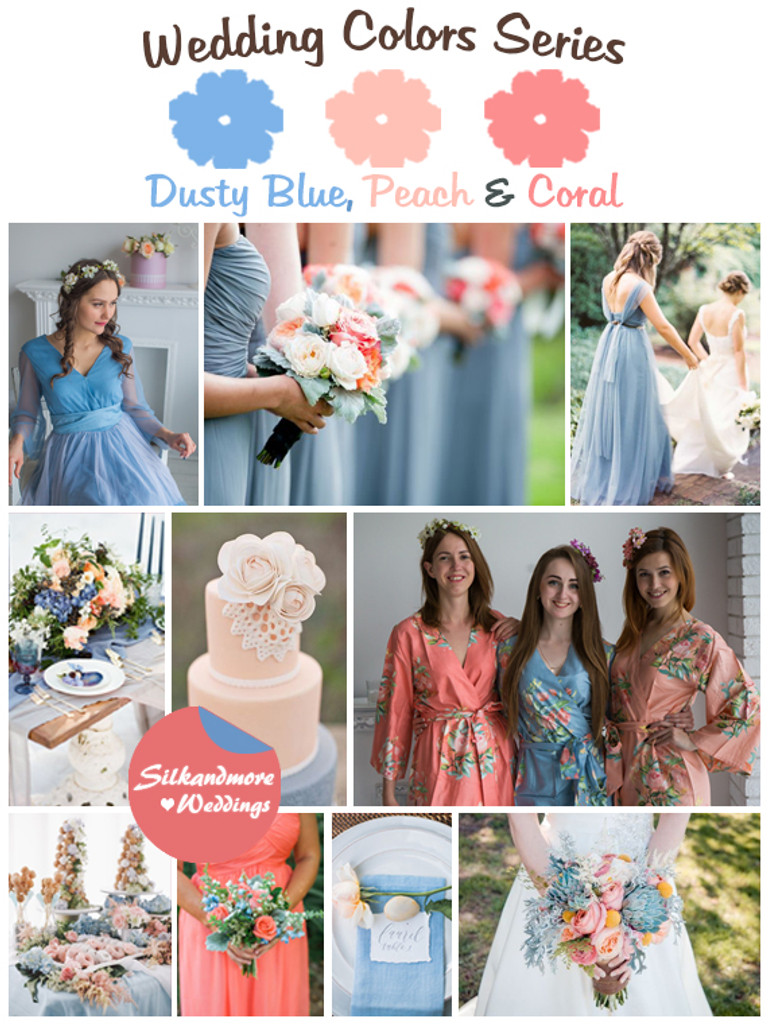Dusty Blue, Peach and Coral Wedding Color Palette - Robes by silkandmore
