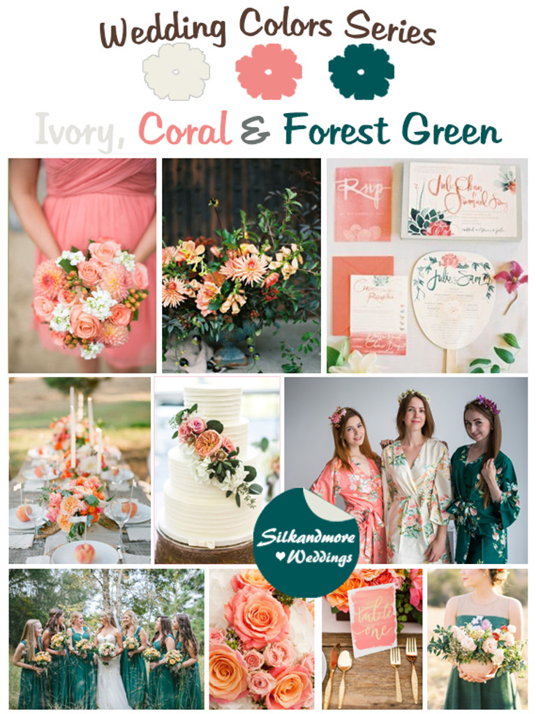 Ivory, Coral and Forest Green Wedding Color Palette - Robes by ...