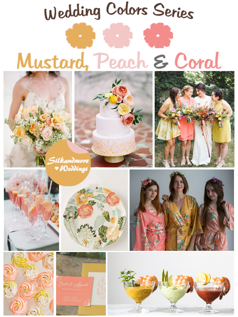 Mustard, Peach and Coral Wedding Color Palette - Robes by silkandmore