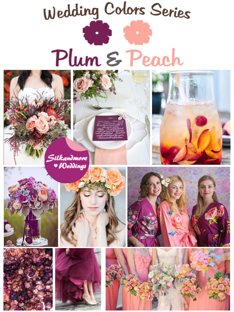 Plum and Peach Wedding Color Palette Robes by silkandmore