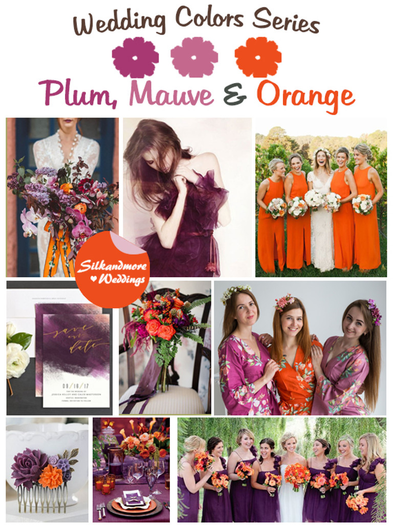 Plum, Mauve and Orange Wedding Color Palette - Robes by silkandmore
