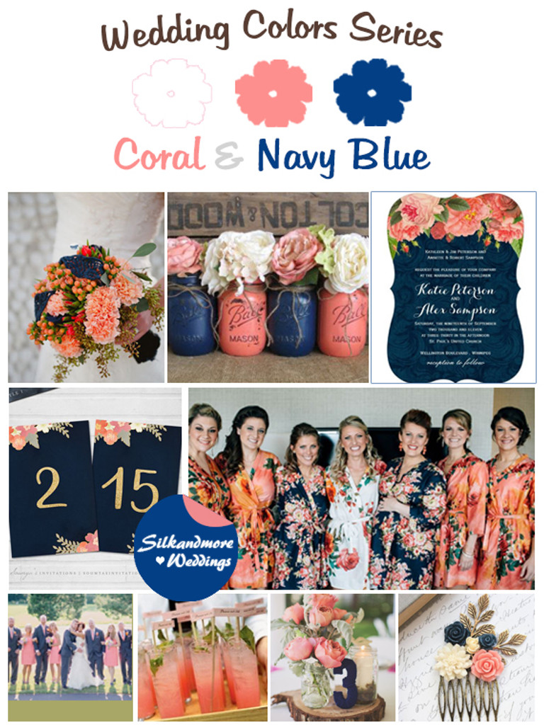 Coral and Navy Blue Wedding Colors Palette - Robes by silkandmore