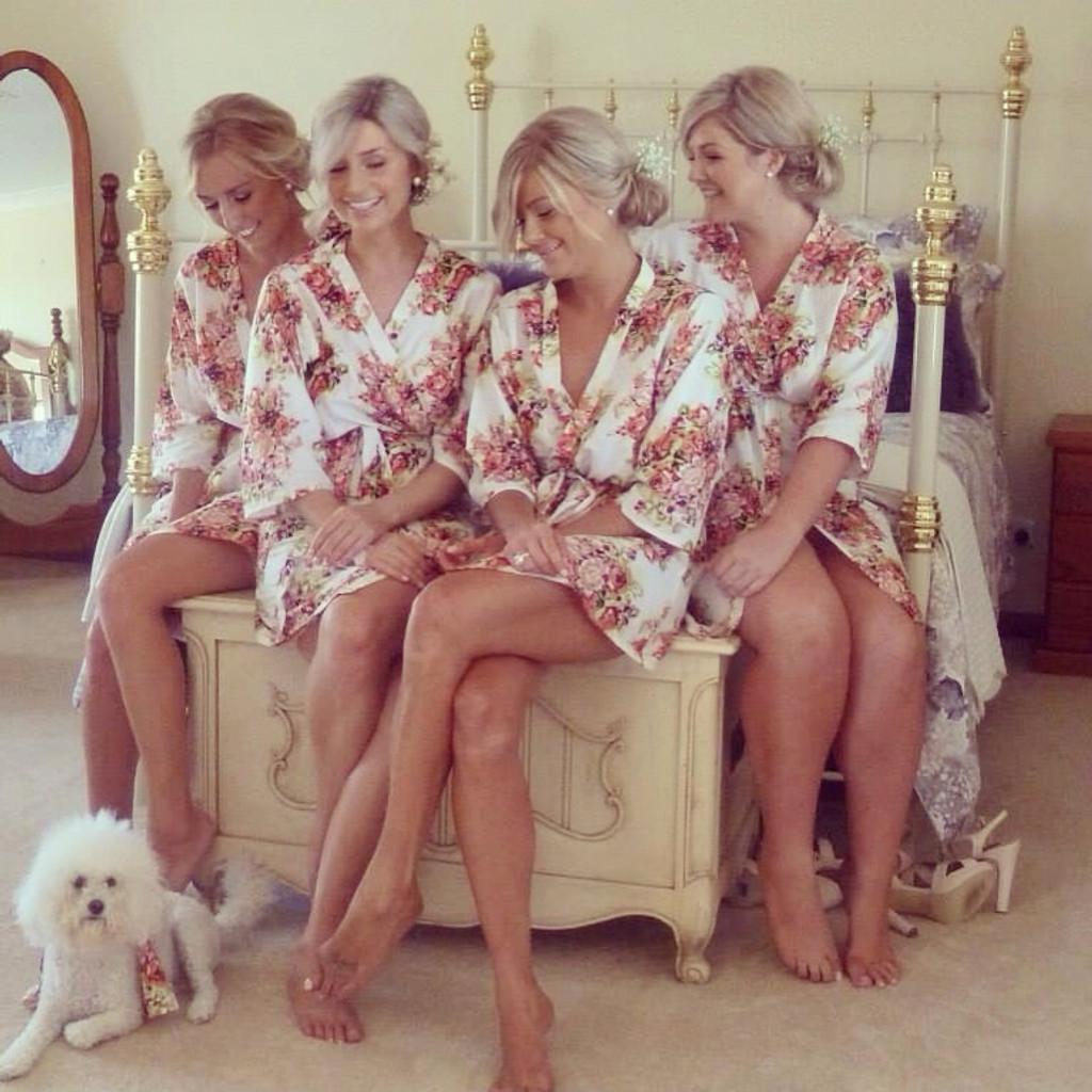 Floral Posy Bridesmaids Robes in White