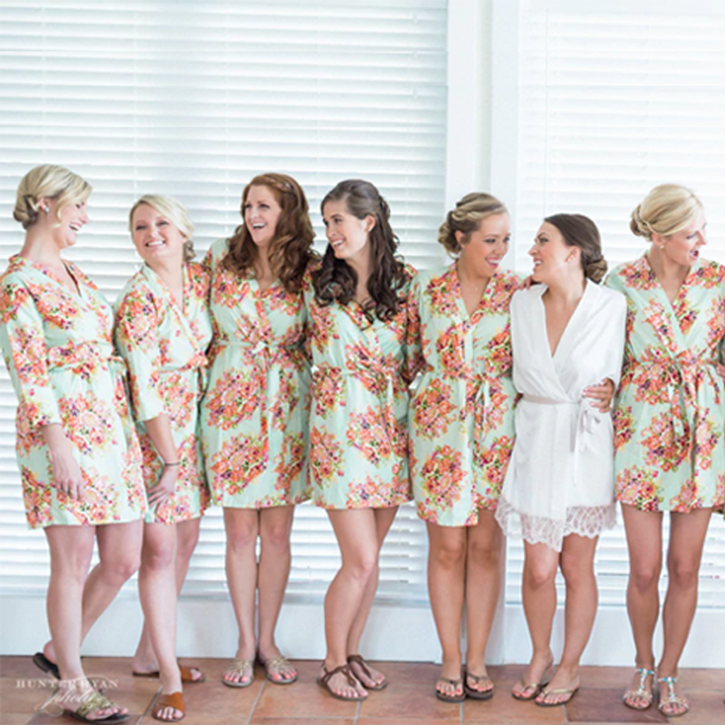 Set of 7 Bridesmaids Roes in Mint Floral Posy- Floral wedding Robes