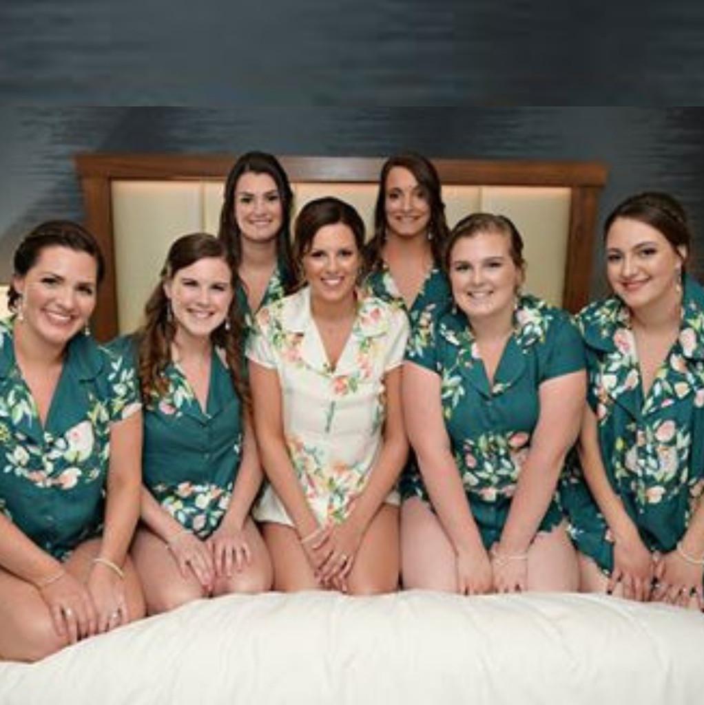 pj sets, bride and bridesmaids pj sets, set of pjs for bridal party, bridal party pj sets, set of 7 pj sets
