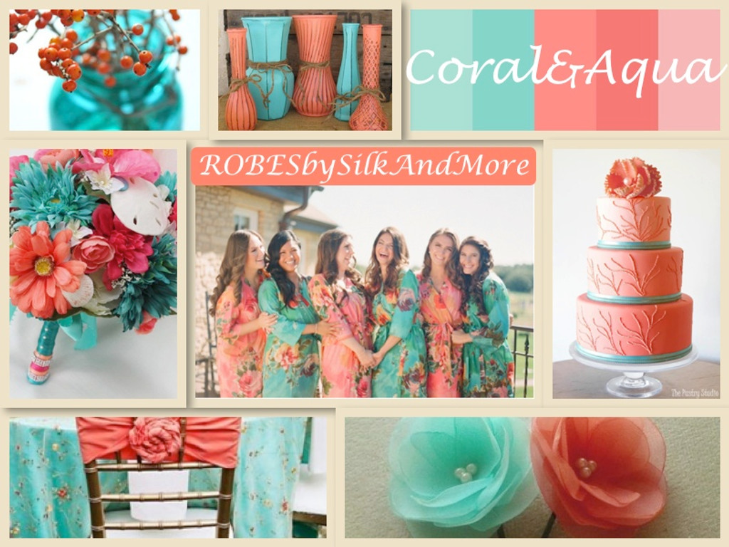 Coral and Aqua Wedding Color Robes - Robes by silkandmore