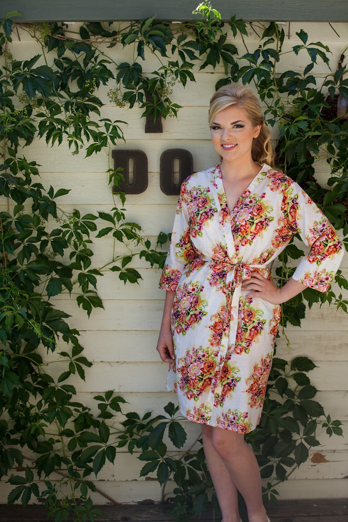 Mix and Match Calm Vintage Toned Floral Posy Robes - Robes by ...
