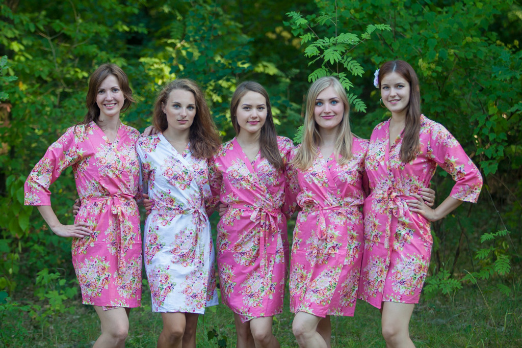 Rouge Pink Floral Posy Robes for bridesmaids | Getting Ready Bridal Robes