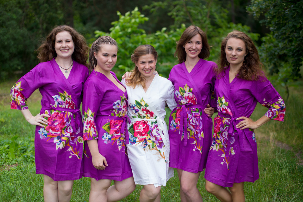 Purple bridesmaids wedding robes in floral pattern