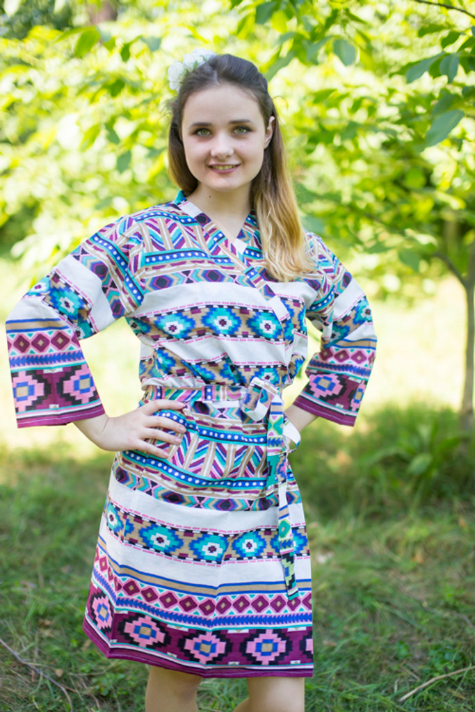 White Burgundy Aztec Geometric Robes for bridesmaids | Getting Ready Bridal Robes