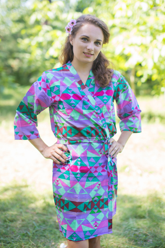 Lilac Diamond Aztec Robes for bridesmaids | Getting Ready Bridal Robes