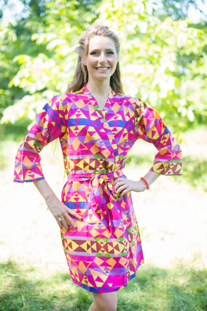 Magenta Diamond Aztec Robes for bridesmaids | Getting Ready Bridal Robes