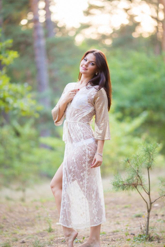 Oh Nora Ivory Glittery Lace Bridal Boudoir Robe