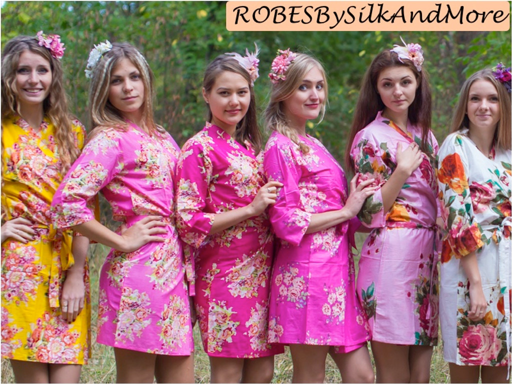 Pink, Fuchsia and Yellow Wedding Color Robes - Robes by silkandmore