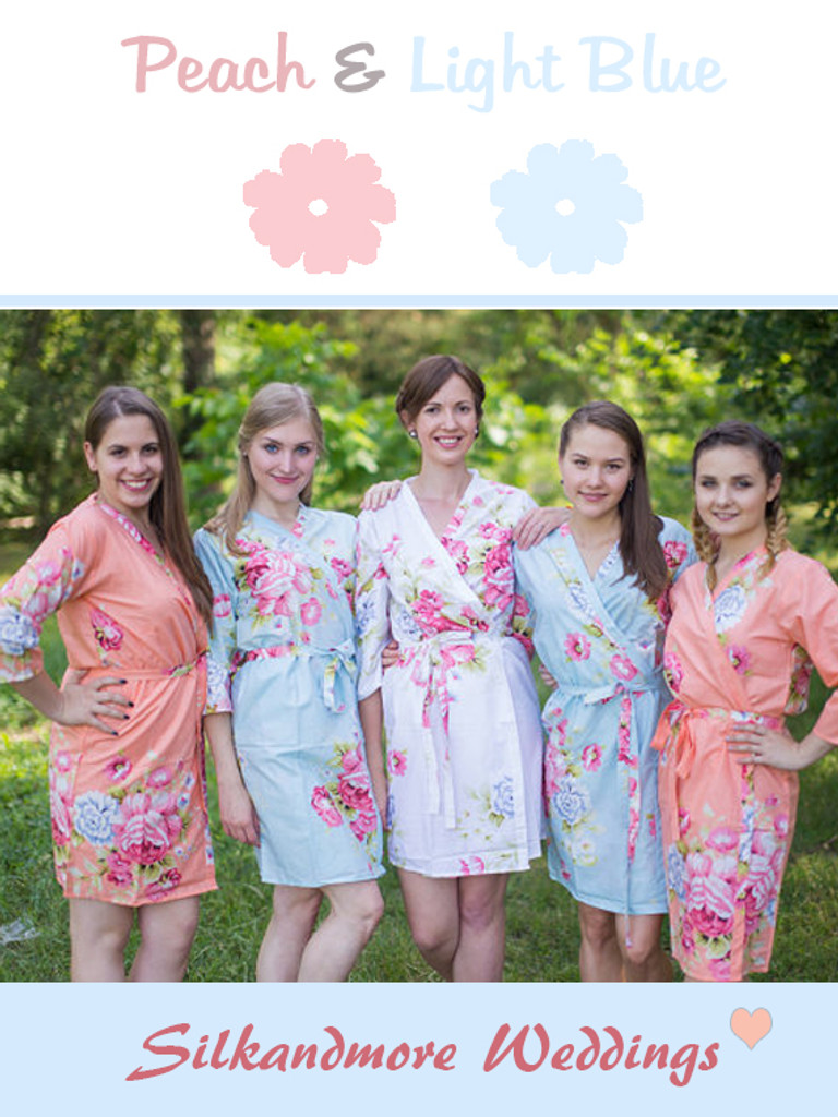 Peach & Light Blue Wedding Colors Bridesmaids Robes - Robes by ...