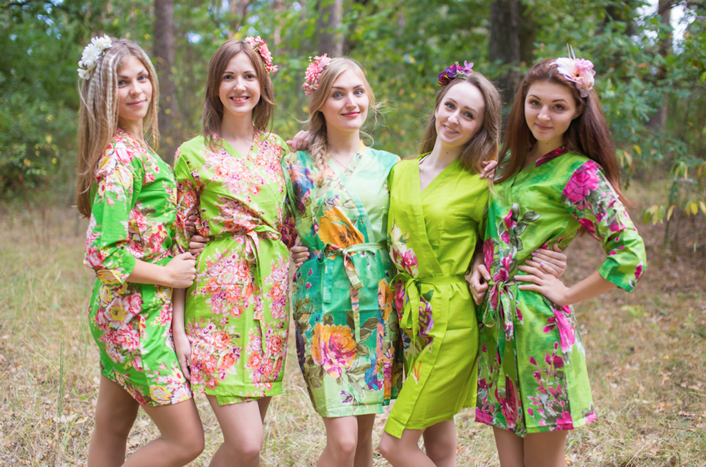 Assorted Greens   SilkandMore Robes
