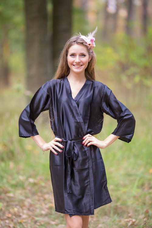 Plain Silk Robes for bridesmaids - Solid Black Color | Getting Ready Bridal Robes
