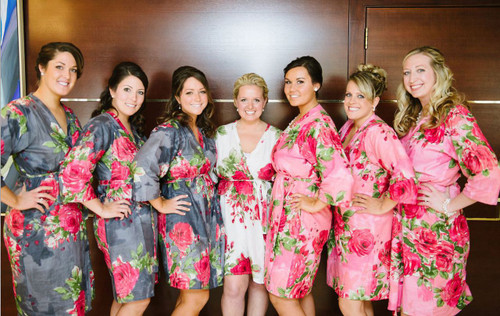 Mismatched Large Fuchsia Floral Blossom6 Robes in bright tones