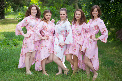 Faded Flowers High Low Bridesmaids Robes