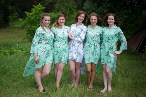 Pink Peonies High Low Bridesmaids Robes