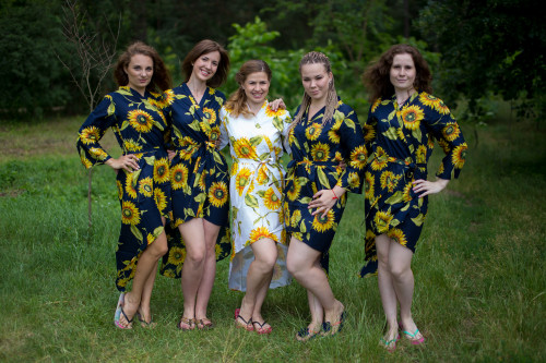 Sunflower Sweet High Low Bridesmaids Robes