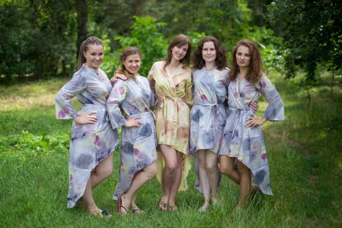 Watercolor Splash High Low Bridesmaids Robes